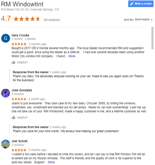 Reviews Window Tinting Colorado Springs